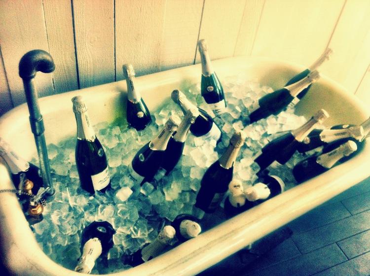 Tub full of champagne at Bailiwick