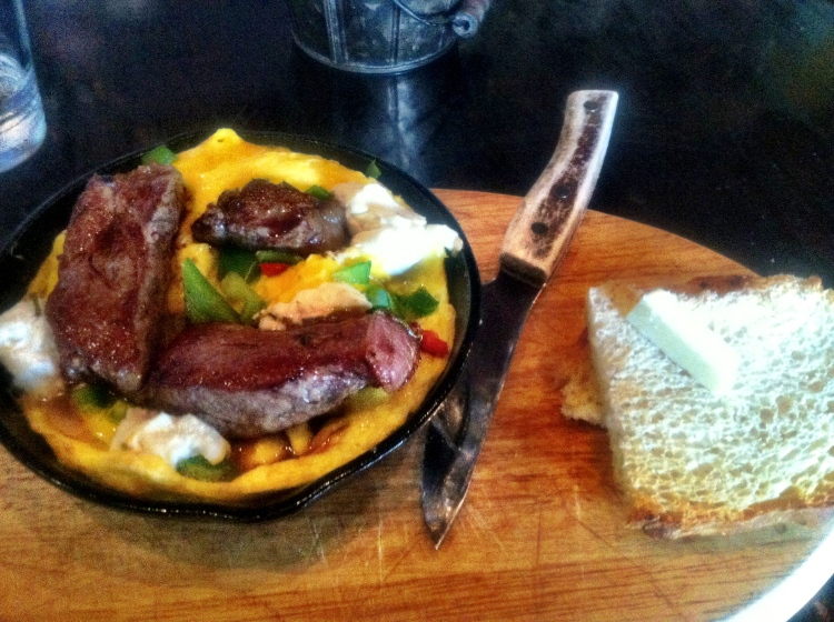 filet mignon, omelette