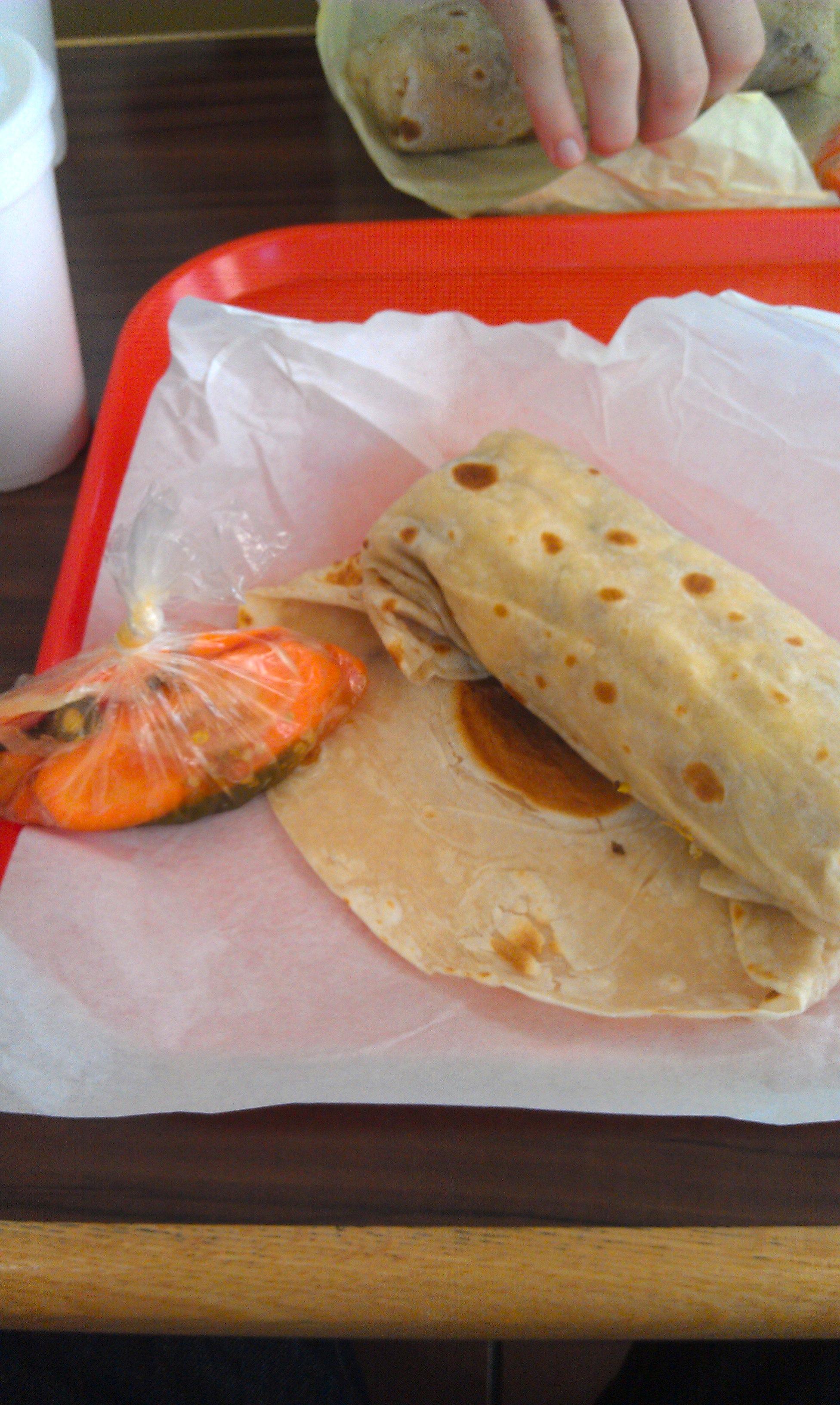 Breakfast Burrito and Carrots