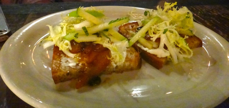 Bacon-Citrus Marmalade Bruschetta  Whipped Bucheron, Minted Apples, Grilled Levain Bread