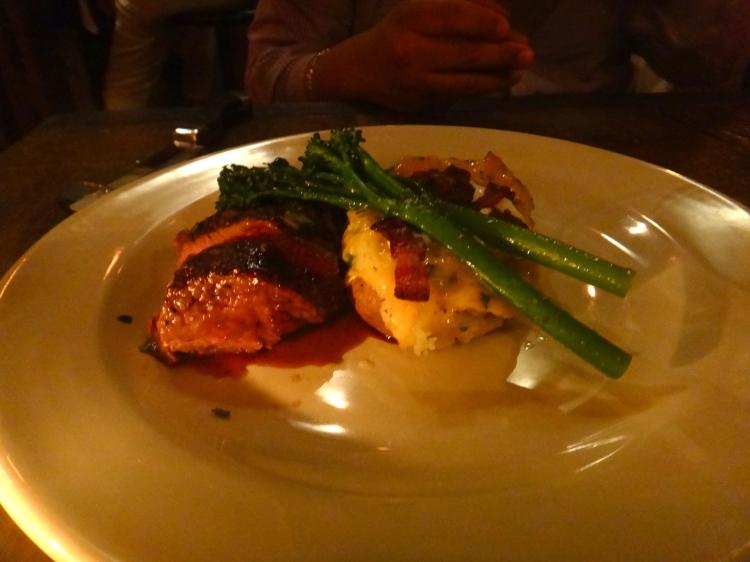Black Angus Bistro Tender   Crispy Bacon & Cheddar Twice-Baked Potato, Broccolini, Cabernet Reduction