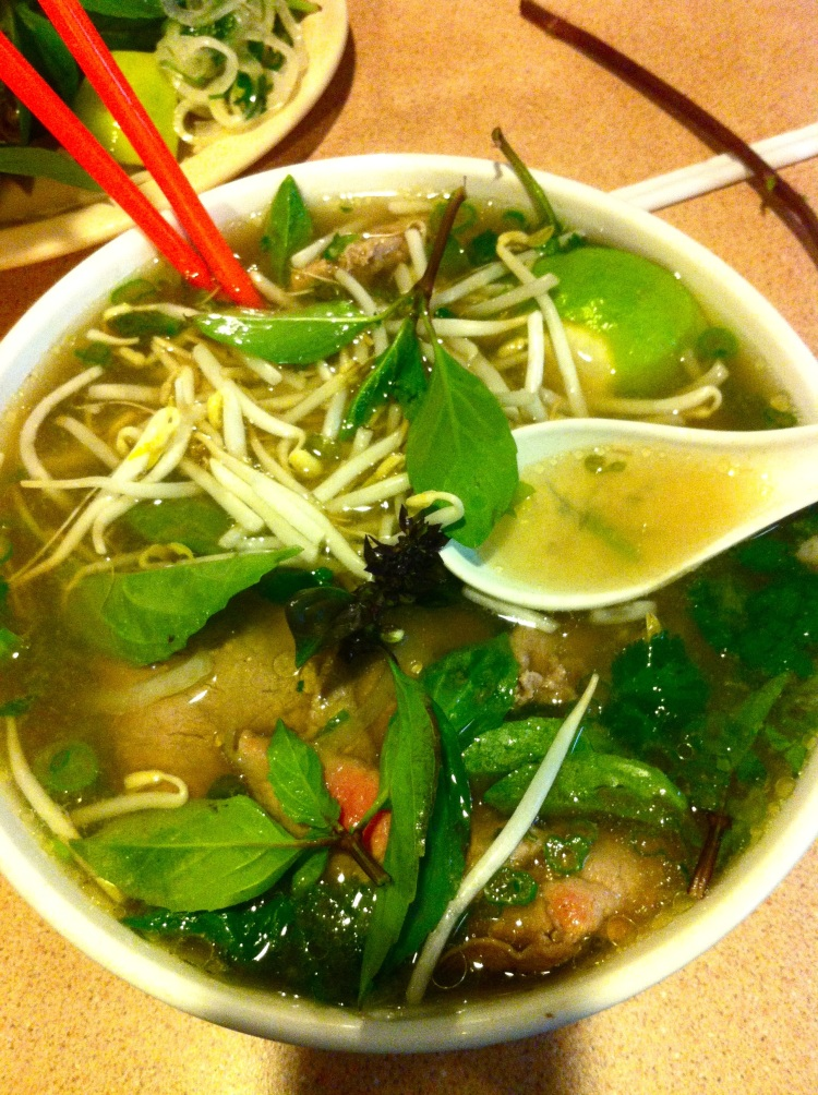 Pho Tai with Bean Sprouts, Basil and Jalapenos